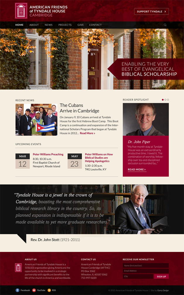A screenshot of the new website for American Friends of Tyndale House