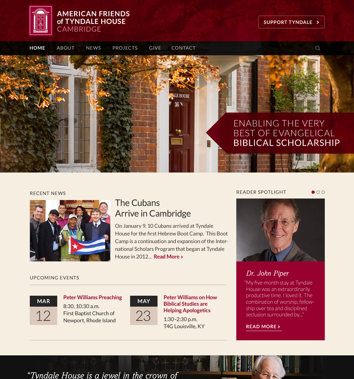 The new website for American Friends of Tyndale House