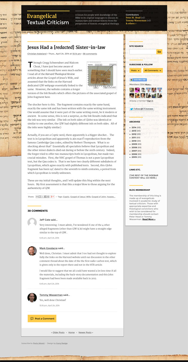 A screenshot of the Evangelical Textual Criticism blog