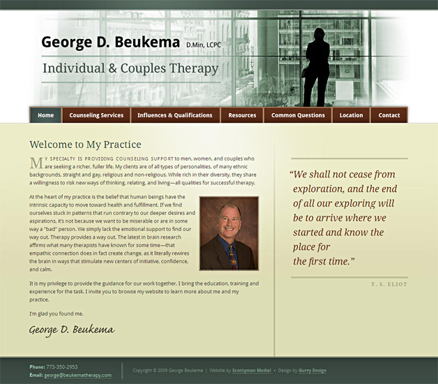 A screenshot of the George Beukema Therapy homepage