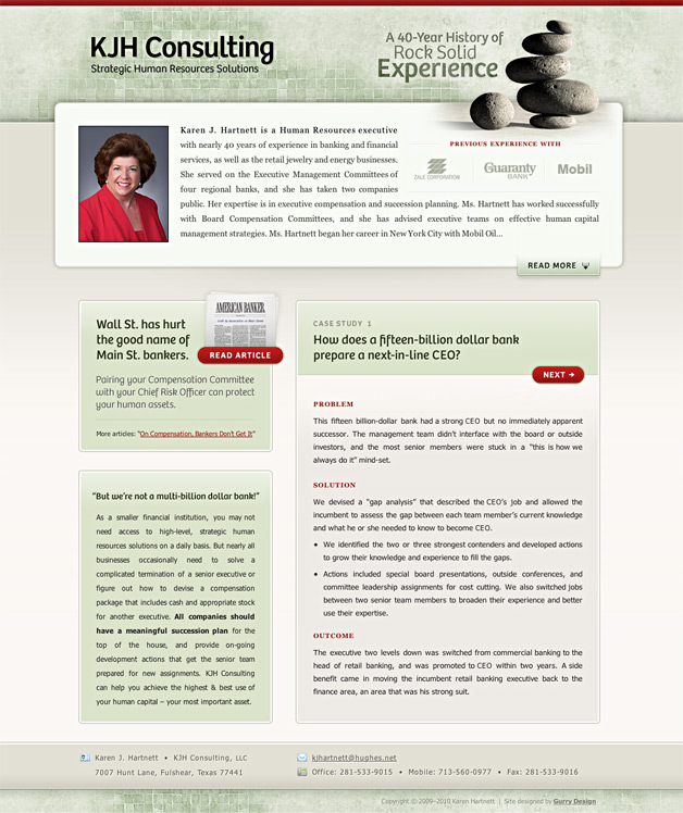 A screenshot of the KJH Consulting homepage.