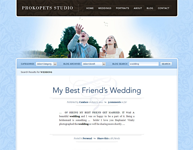 A screenshot of the Prokopets Studio blog
