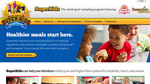 A screenshot of the new Superkids website