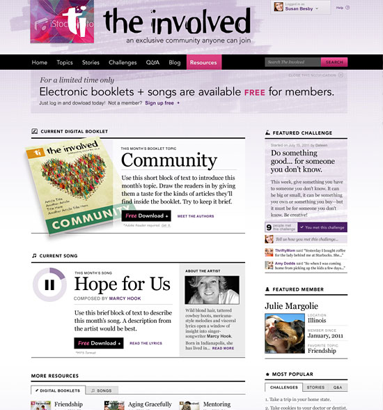 A screenshot of The Involved homepage