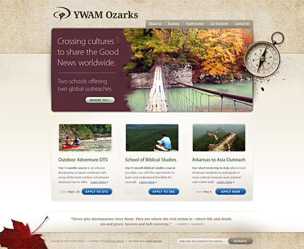 A screenshot of the YWAM Ozarks homepage