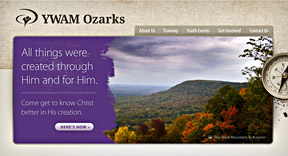 A screenshot of the new YWAM Ozarks website